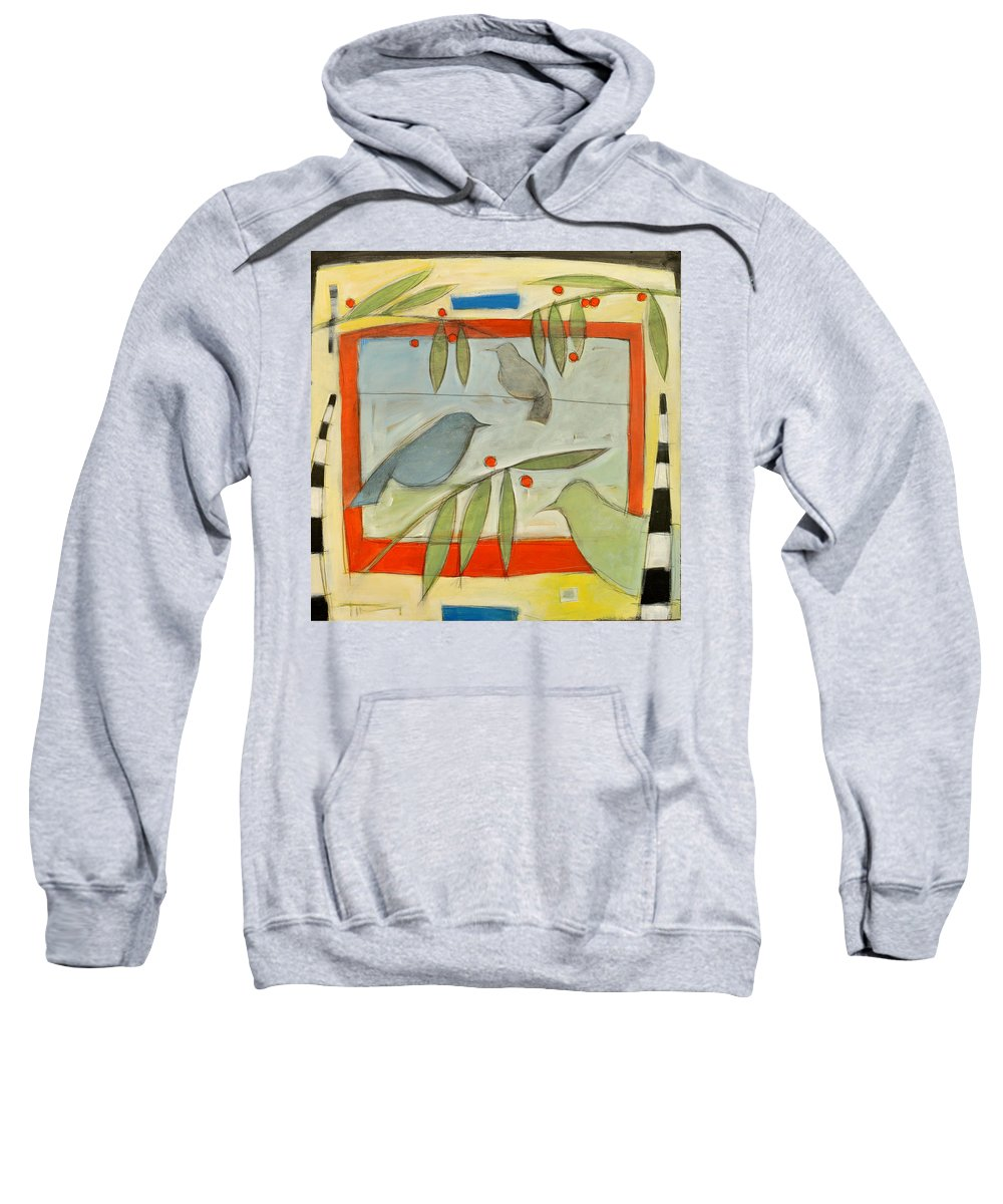 Berries Sweatshirt featuring the painting Birds And Berries by Tim Nyberg