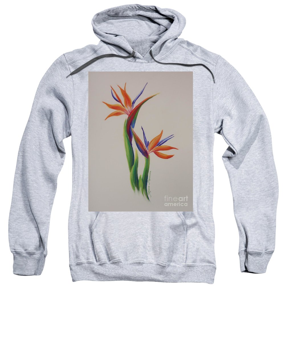 Drawing Sweatshirt featuring the painting Birds Of Paradise -in Love by Tatjana Popovska