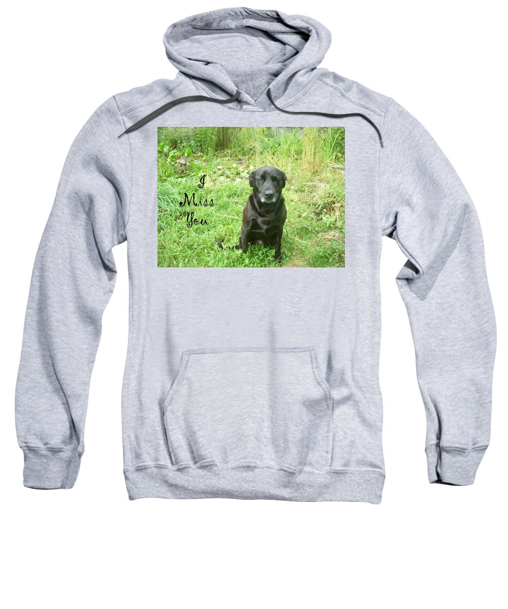 Dog Sweatshirt featuring the photograph Black Lab Miss You by Aimee L Maher ALM GALLERY