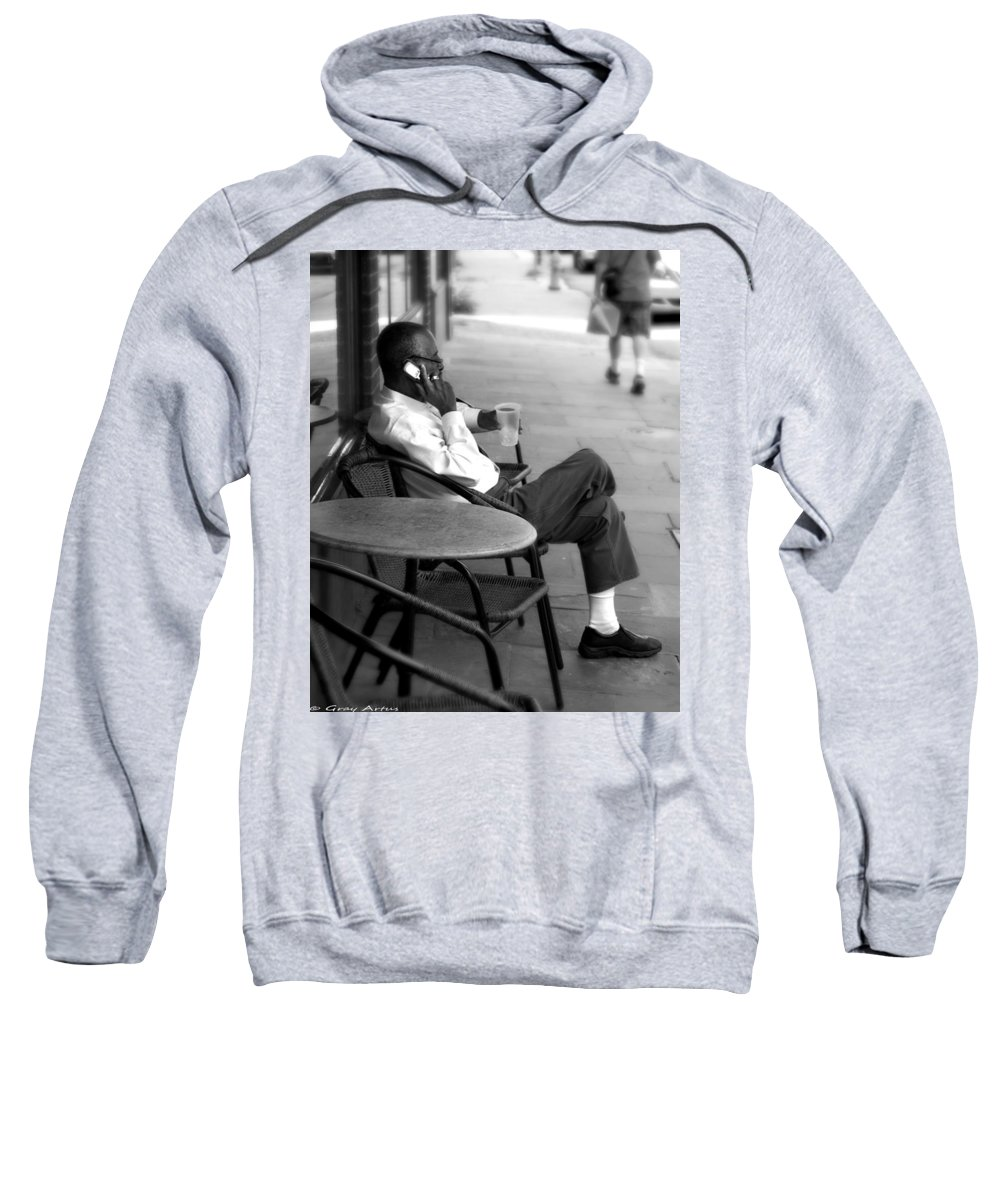 Street Photography Sweatshirt featuring the photograph Black Man Relaxing On Sidewalks Of Asheville by Gray Artus