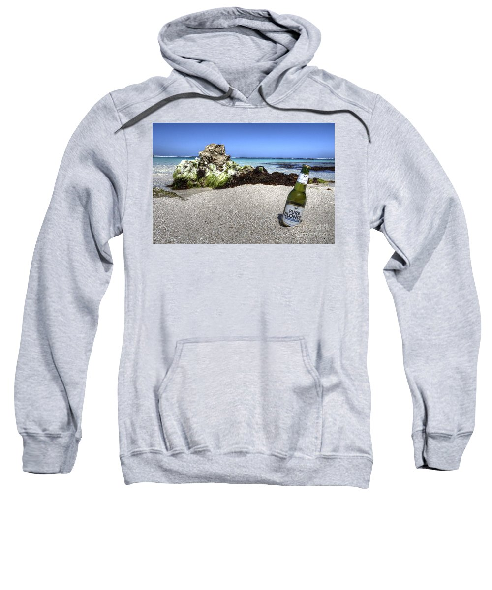 Beer Sweatshirt featuring the photograph Blonde On The Beach by Rob Hawkins