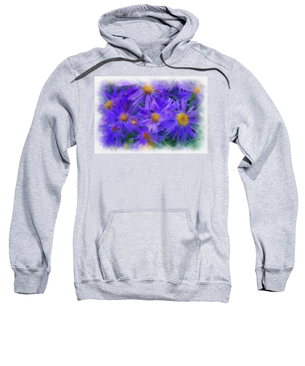 Blue Sweatshirt featuring the digital art Blue Asters - Watercolor by Charles Muhle