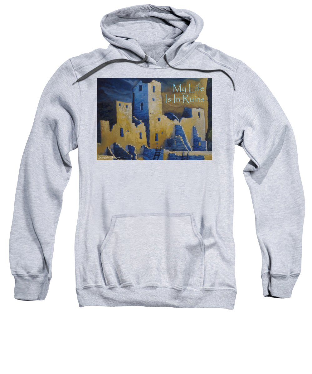 Greeting Sweatshirt featuring the painting Blue Palace Greeting Card by Jerry McElroy