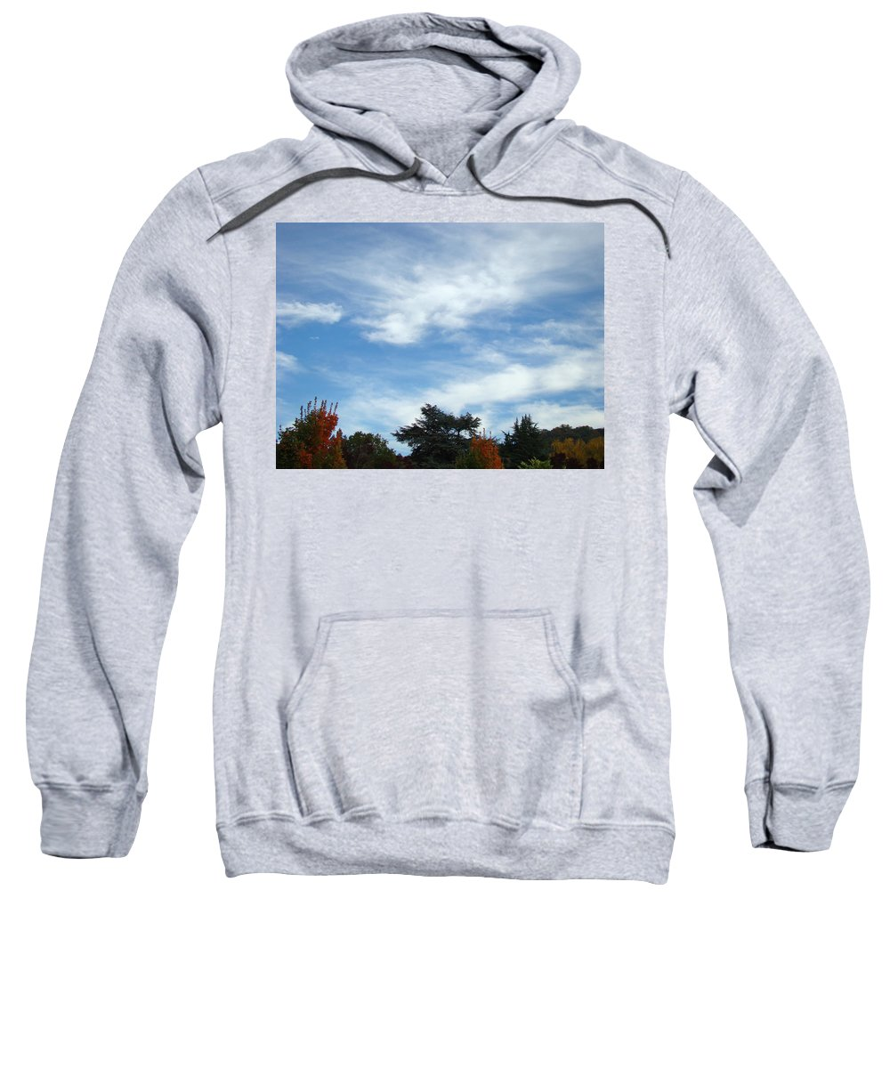 Autumn Sweatshirt featuring the photograph Blue Sky White Clouds Autumn Prints by Baslee Troutman