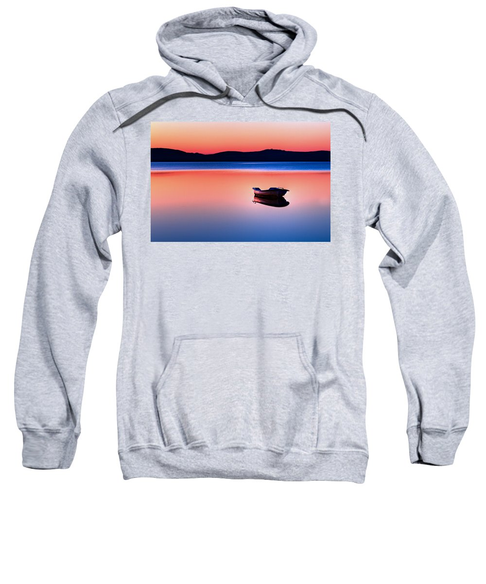 Blue Sweatshirt featuring the photograph Boat In Sunset II by Gert Lavsen