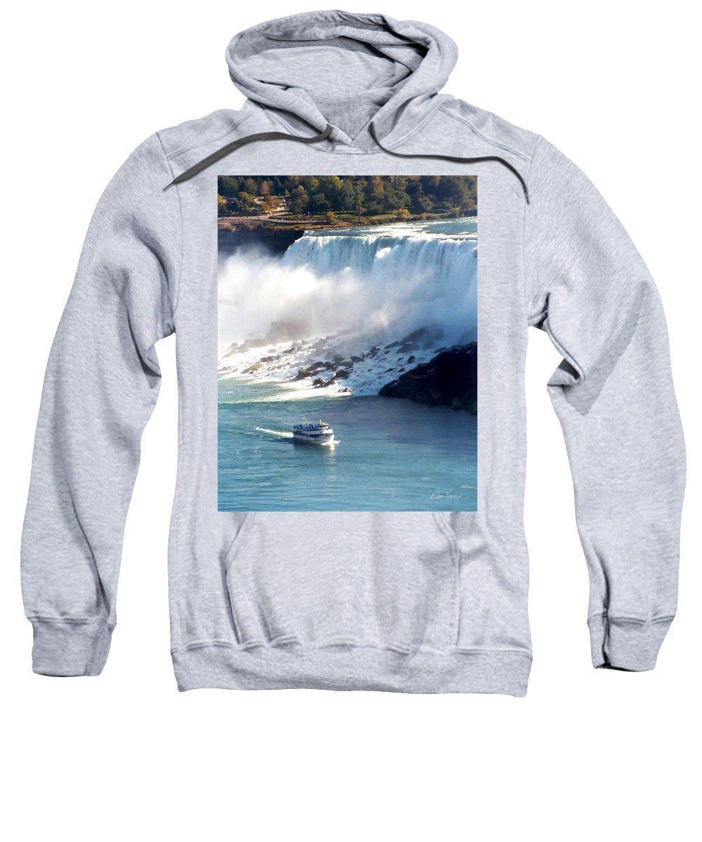 Niagara Falls Sweatshirt featuring the photograph Boat On Niagara Falls by Diana Haronis