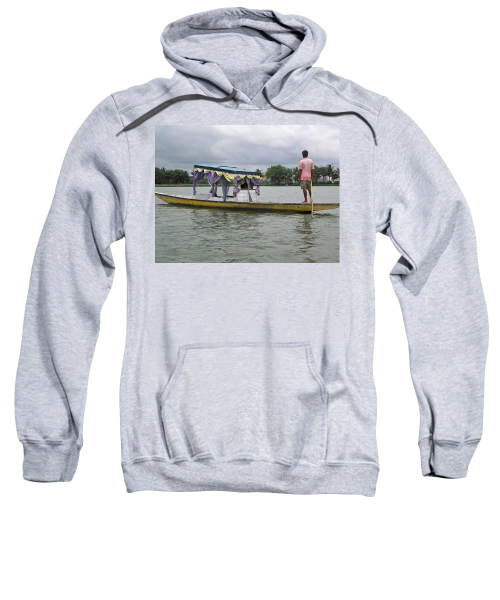 Boatman Sweatshirt featuring the photograph Boatman Taking A Couple Out On A Shikhara by Ashish Agarwal