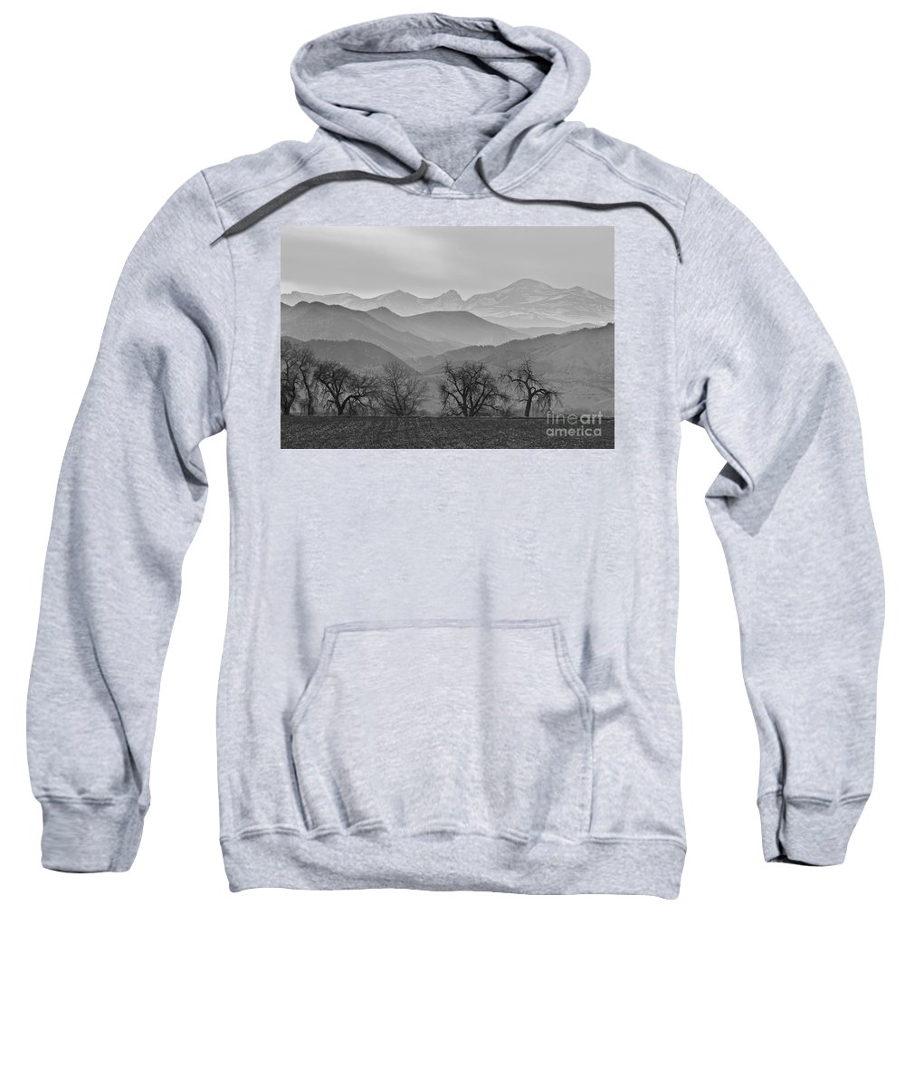 Boulder Sweatshirt featuring the photograph Boulder County Layers Bw by James BO Insogna