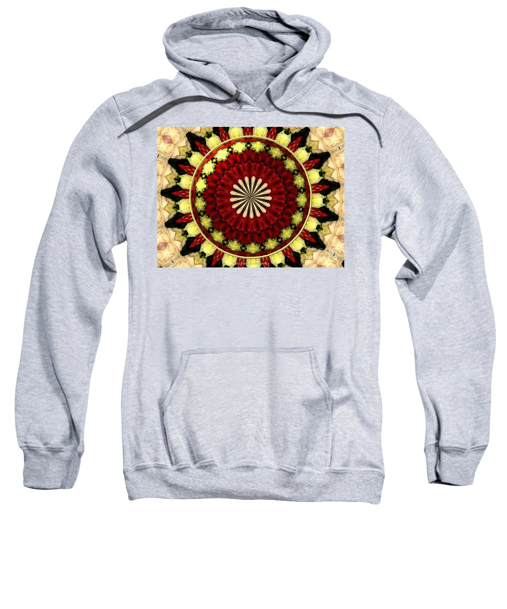 Yellow Roses Sweatshirt featuring the photograph Bouquet Of Roses Kaleidoscope 5 by Rose Santuci-Sofranko