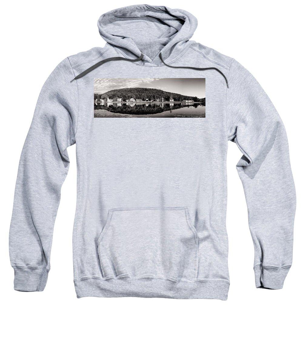 Adirondacks Sweatshirt featuring the photograph Brant Lake Reflections Black And White by Joshua House