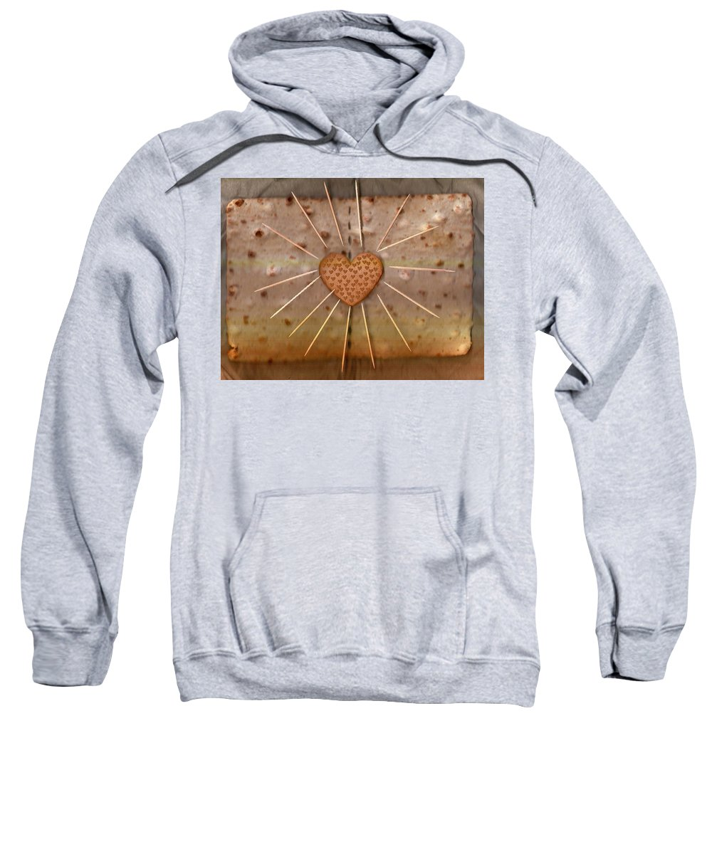 Heart Sweatshirt featuring the mixed media Bread Sunshine And Love by Pepita Selles
