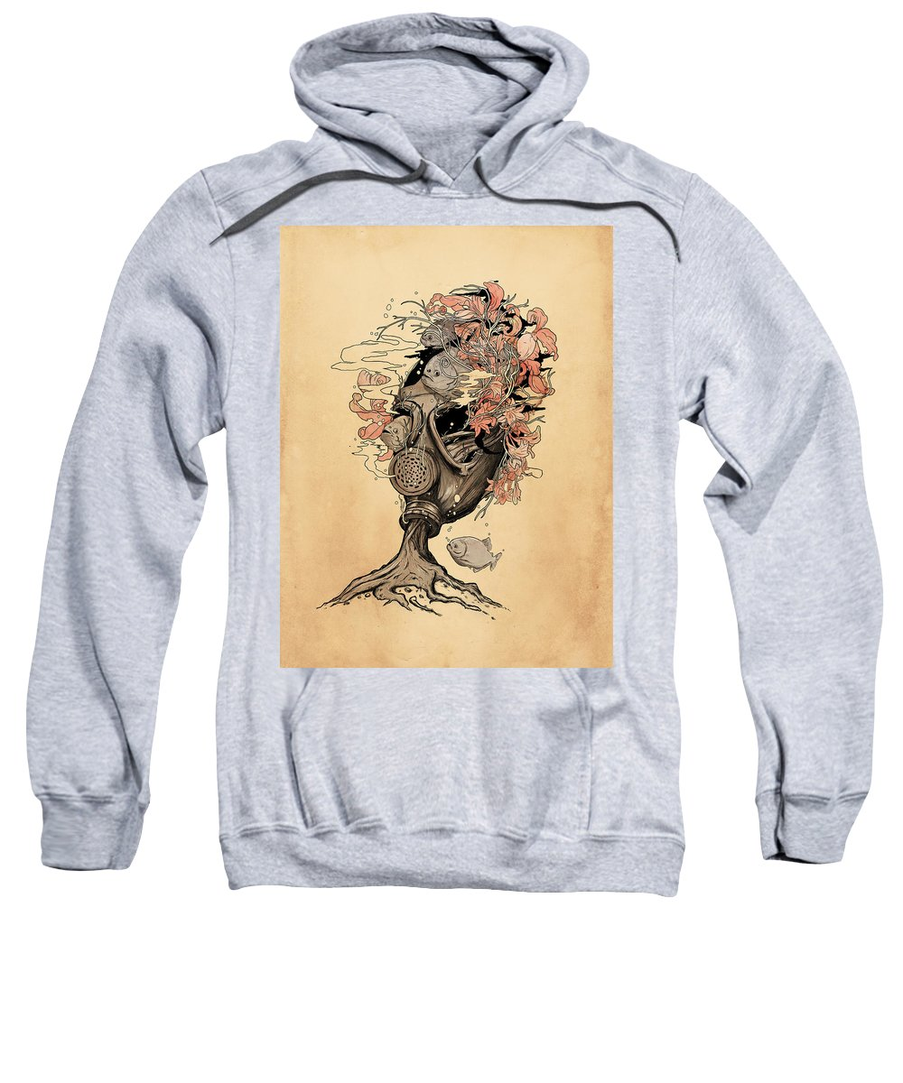 Gasmask Sweatshirt featuring the mixed media Breath by Nicebleed