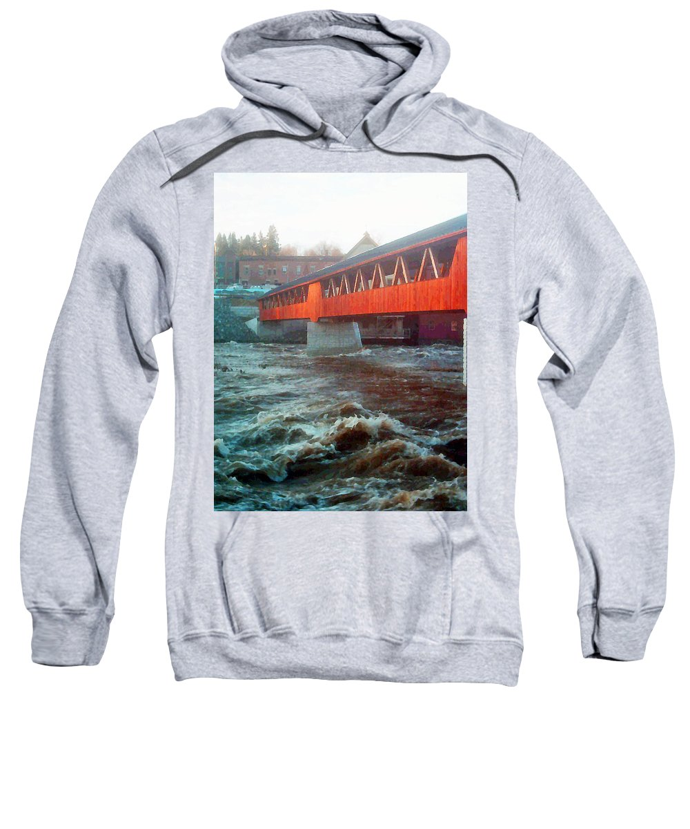 Bridge Prints Sweatshirt featuring the photograph Bridge Across The Ammonoosuc River by Marie Jamieson