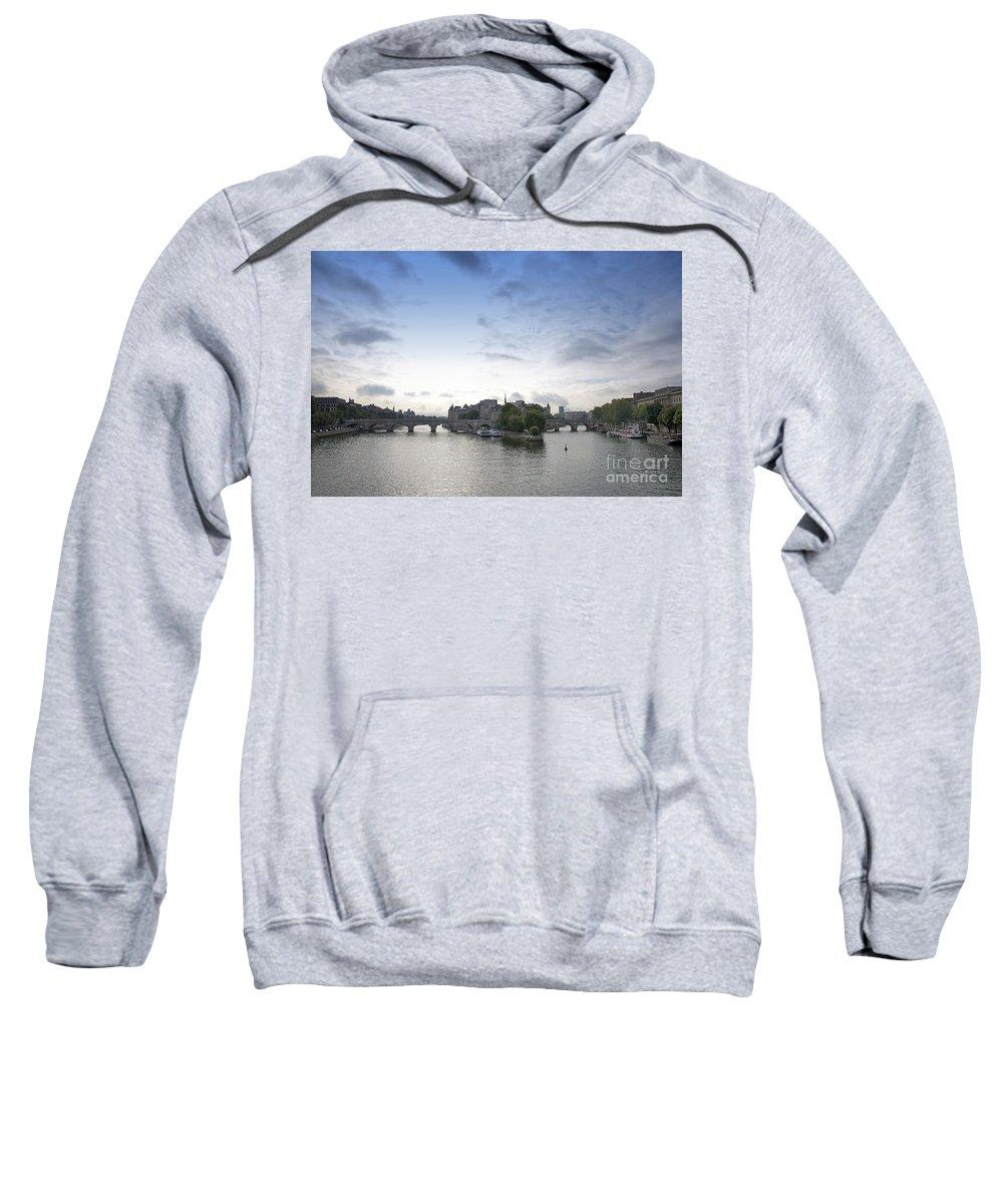 Paris Sweatshirt featuring the photograph Bridges On River Seine. Paris. France by Bernard Jaubert