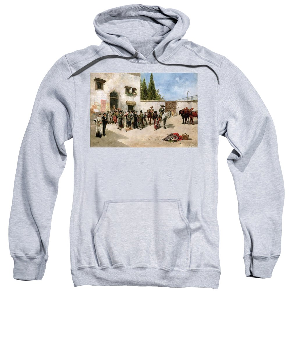 Bullfighters Preparing For The Fight Sweatshirt featuring the painting Bullfighters Preparing For The Fight by Vicente de Parades