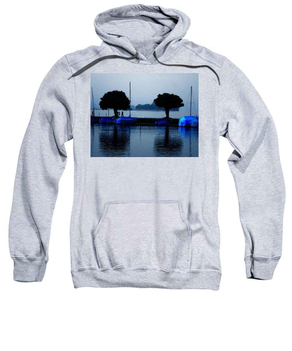 Colette Sweatshirt featuring the photograph By Night Zurich Lake Switzerland by Colette V Hera Guggenheim