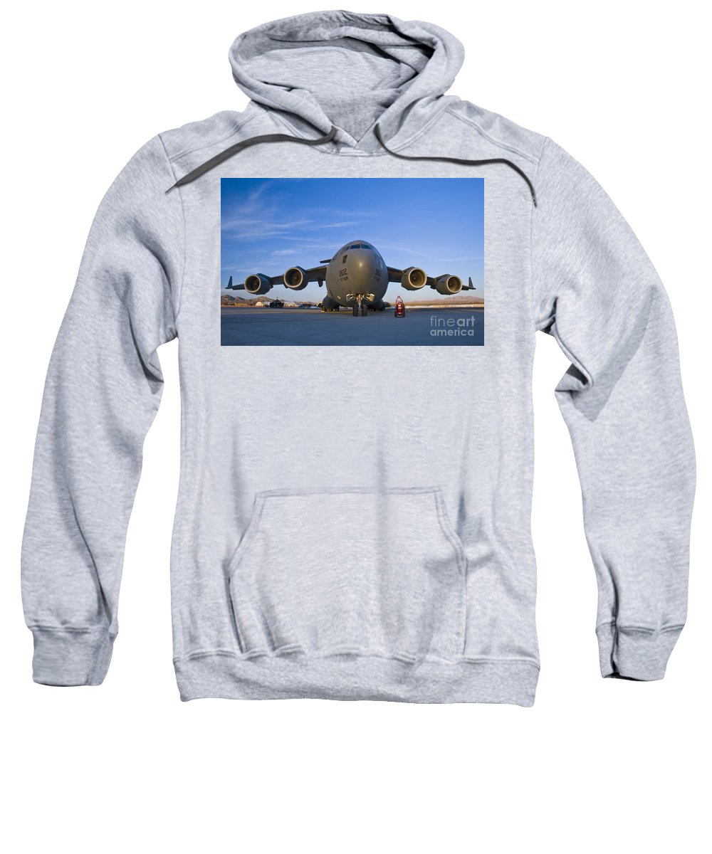 Usaf Sweatshirt featuring the photograph C-17 At Sunset by Tim Mulina