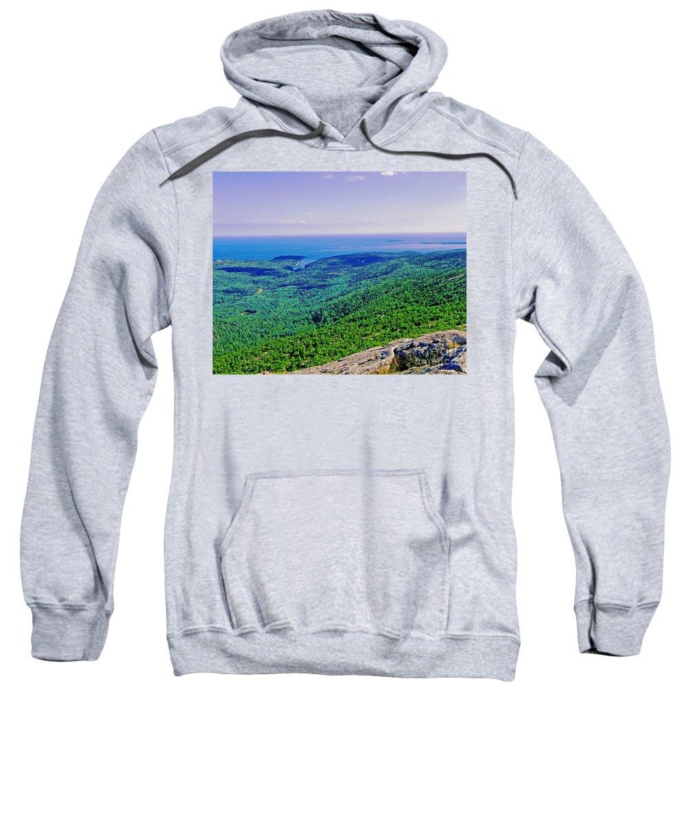 Mountain Sweatshirt featuring the photograph Cadillac Mt Mt Desert Island Me Ocean View by Lizi Beard-Ward