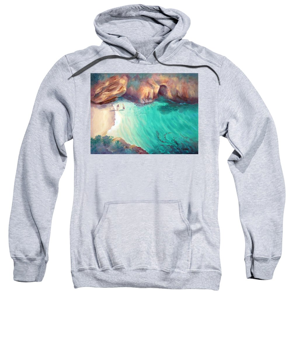 Romantic Ocean Painting Sweatshirt featuring the painting California Dreaming by Karin Leonard
