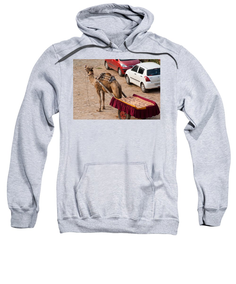 Maruti Sweatshirt featuring the photograph Camel Ready To Take Tourists For A Desert Safari by Ashish Agarwal