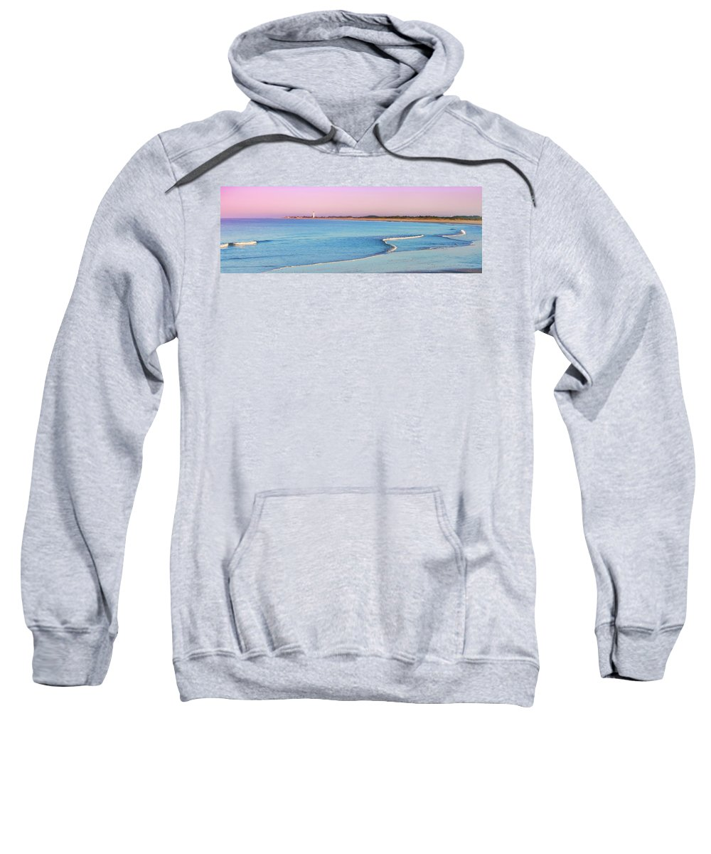 Cape May Sweatshirt featuring the photograph Cape May Light House Panorama by Bill Cannon