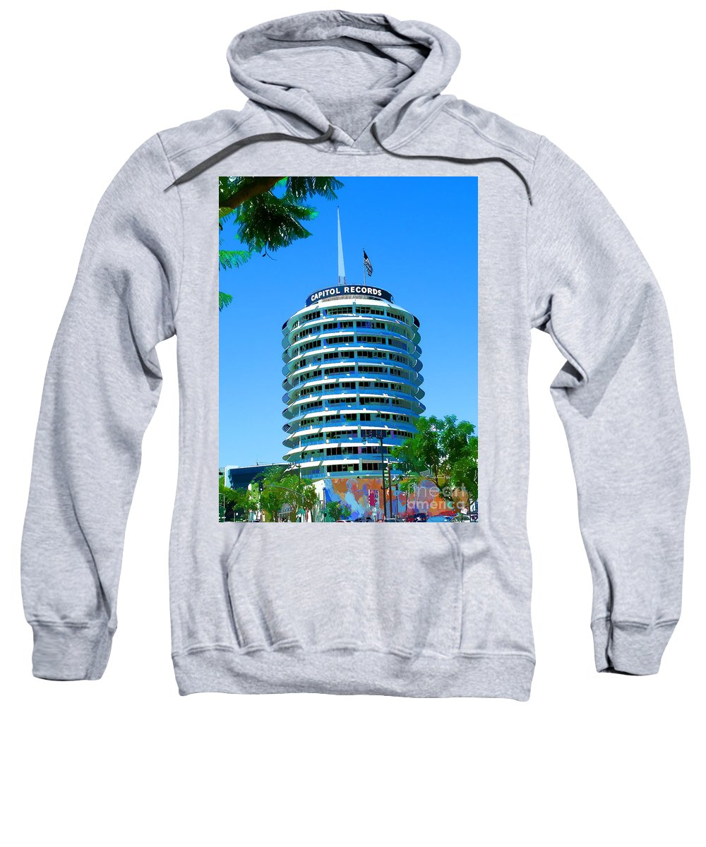 Hollywood Blvd And Vine Street California Hollywood And Vine Sweatshirt featuring the painting Capital Records Hollywood by RJ Aguilar