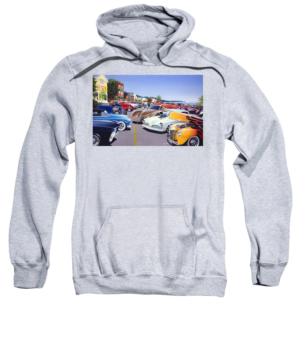 America Sweatshirt featuring the photograph Car Show By The Lake by Bruce Kaiser