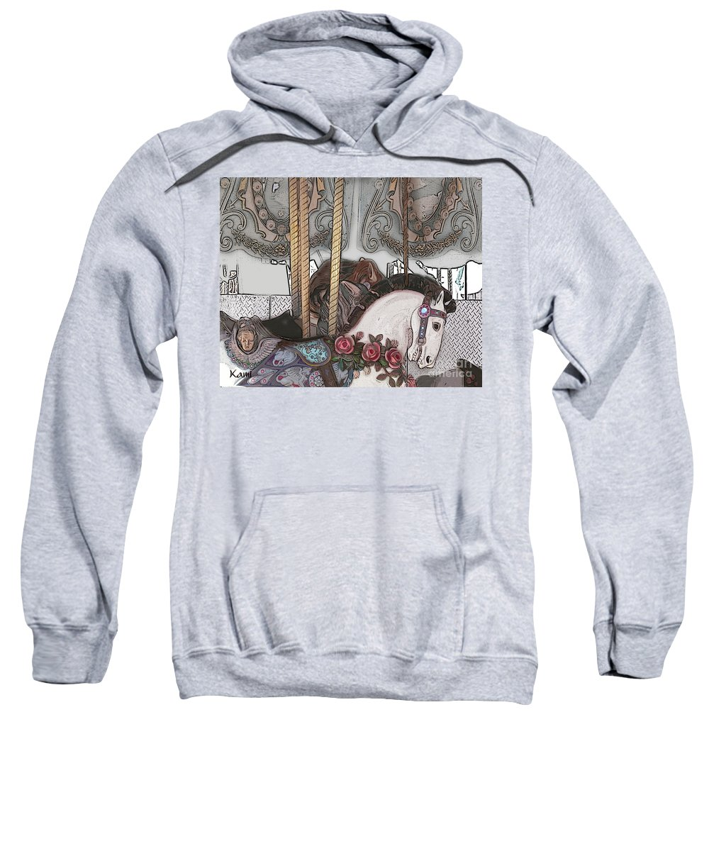 Horse Sweatshirt featuring the painting Carousel by Kami Catherman