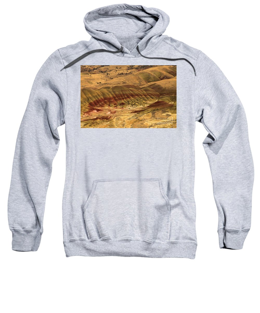 John Day Fossil Beds Sweatshirt featuring the photograph Carroll Rim Painted Hills by Adam Jewell