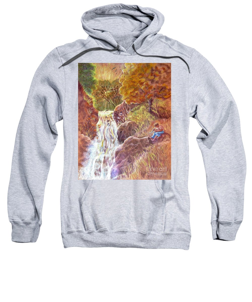 Waterfall Sweatshirt featuring the drawing Catching The Last Light by Marilyn Smith