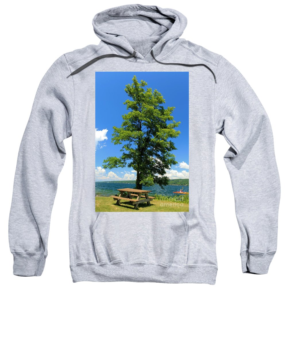 Taughannock Falls State Park Sweatshirt featuring the photograph Cayuga Picnic by Adam Jewell