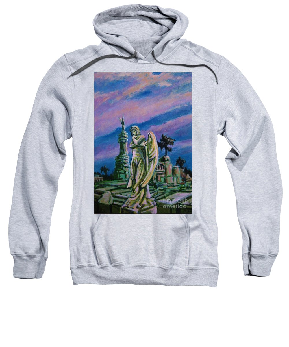 Angel Sweatshirt featuring the painting Cemetary Guardian by John Malone