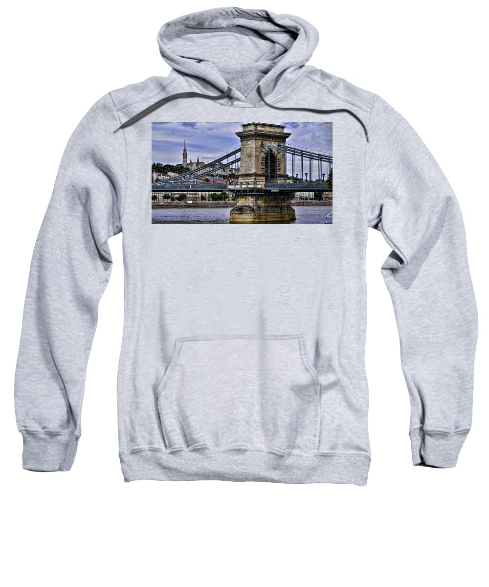 Szechenyi Chain Bridge Sweatshirt featuring the photograph Chain Bridge Budapest by Jon Berghoff