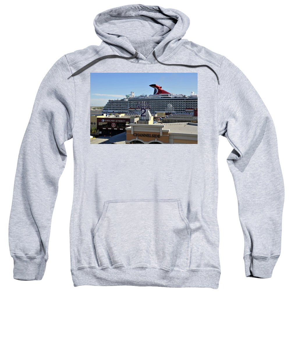 Cruise Ship Sweatshirt featuring the photograph Channelside Tampa by David Lee Thompson