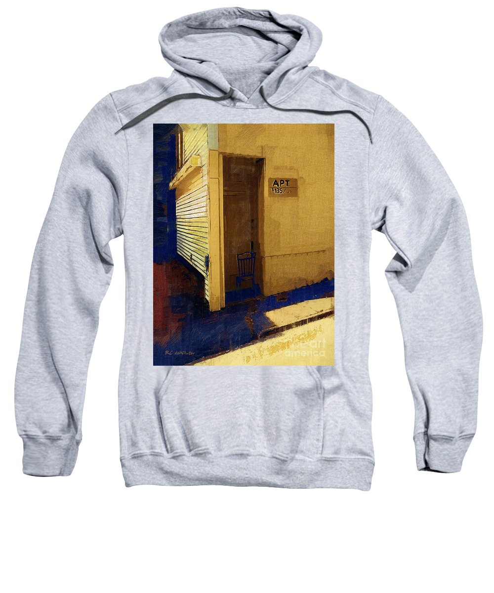 Building Sweatshirt featuring the painting Cheap Rent by RC DeWinter