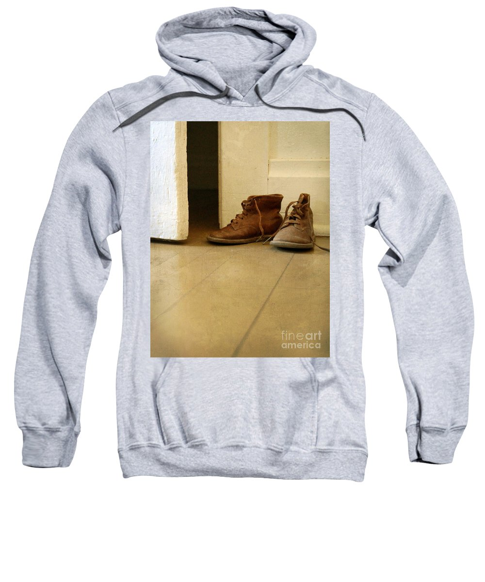 Shoes Sweatshirt featuring the photograph Child's Shoes By Open Door. by Jill Battaglia
