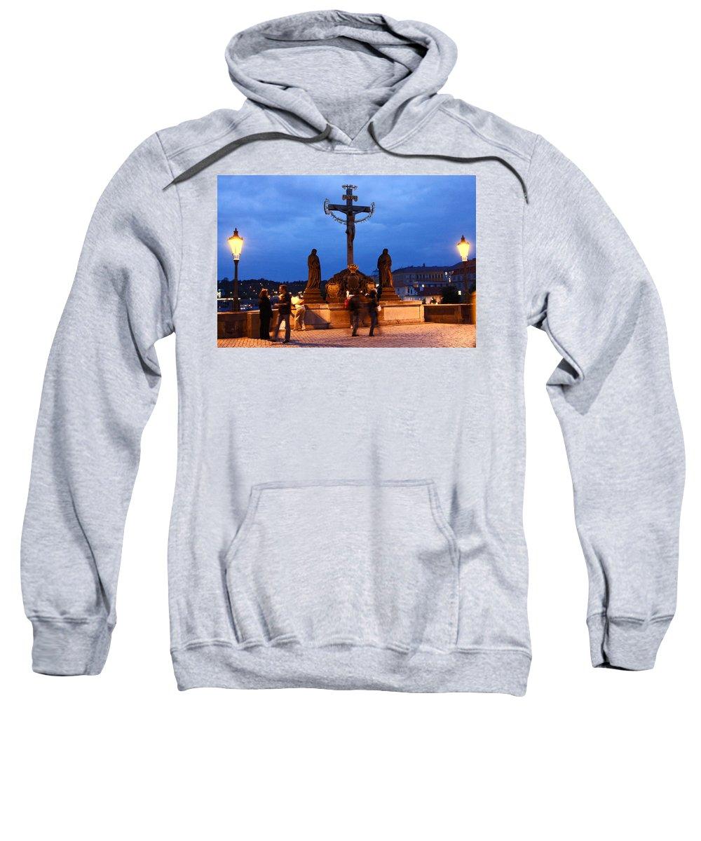 Christ Crucifixion Sculpture Sweatshirt featuring the photograph Christ Crucifixion Sculpture by Sally Weigand