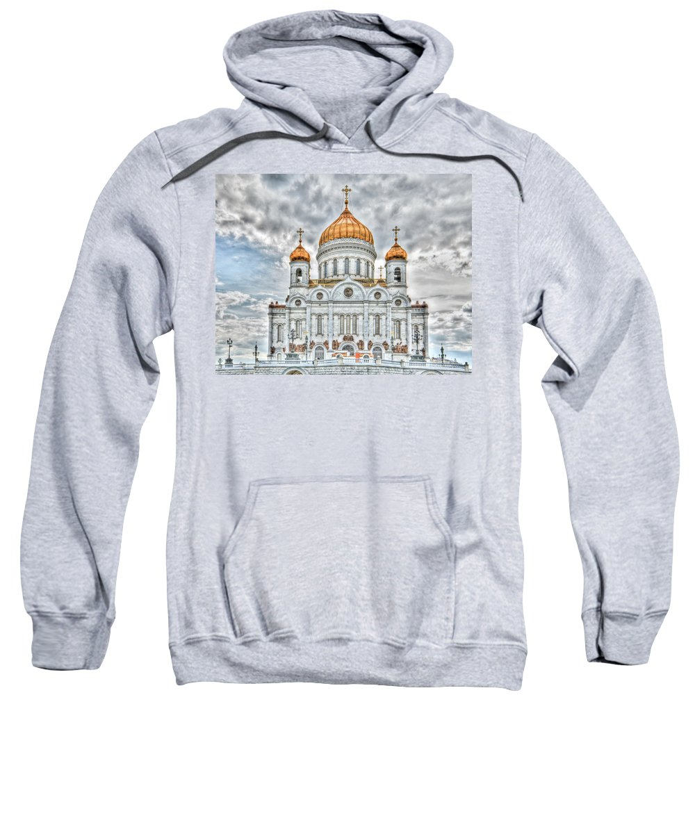 Hdr Sweatshirt featuring the photograph Christ The Saviour Cathedral In Moscow. The Main Entrance by Michael Goyberg