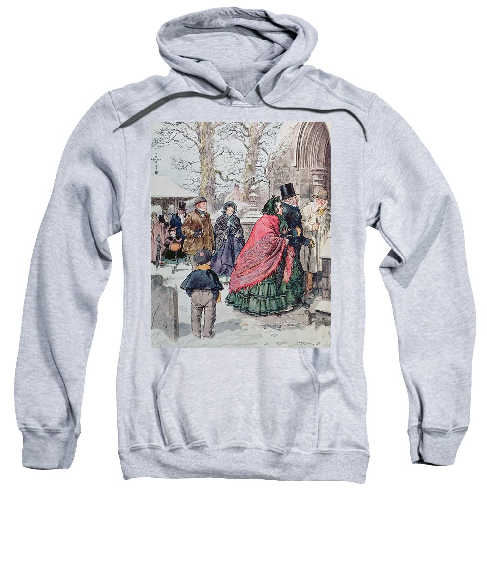 Winter Sweatshirt featuring the painting Christmas At Dreamthorpe by Charles Edmund Brock