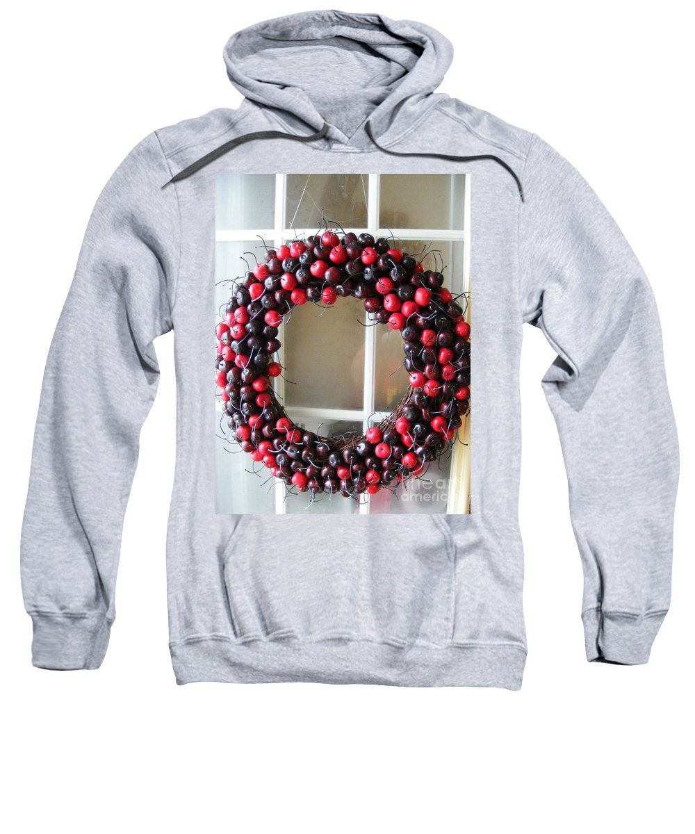 Christmas Art Sweatshirt featuring the photograph Christmas Cherry Wreath by Barbara Griffin