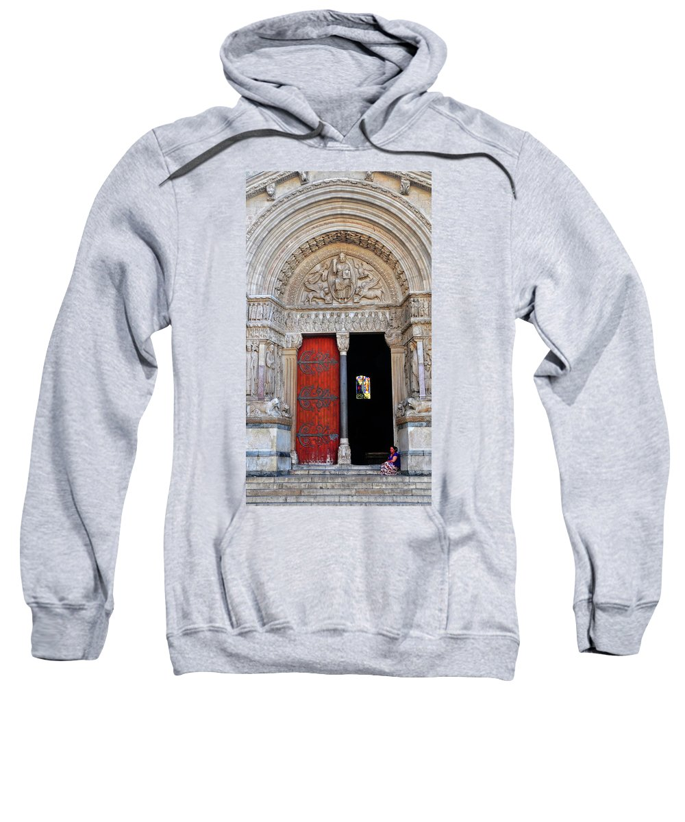Church Sweatshirt featuring the photograph Church Entrance Arles France by Dave Mills