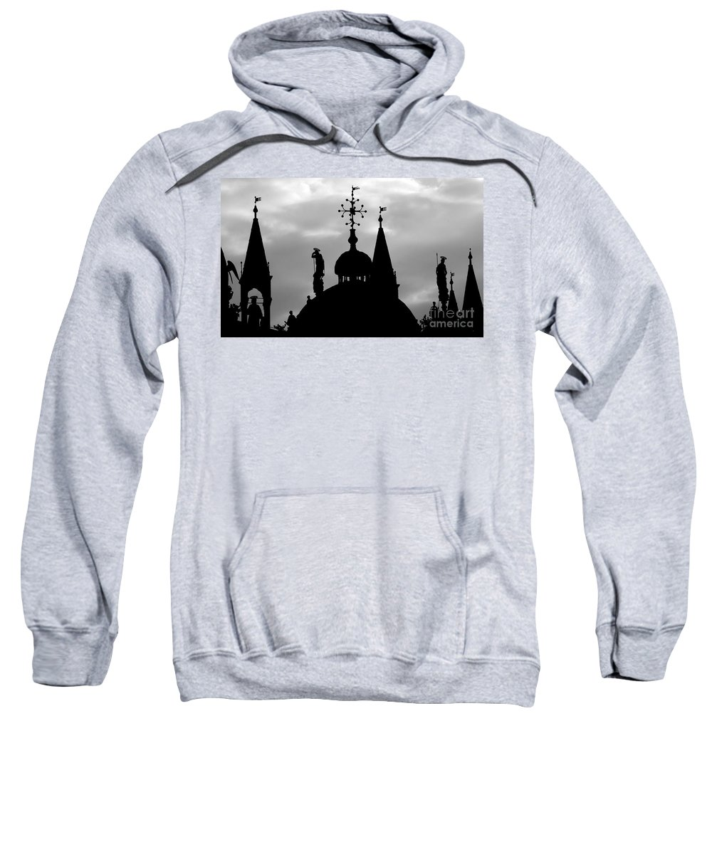 Church Sweatshirt featuring the photograph Church Spires Silhouetted Bw by Mike Nellums
