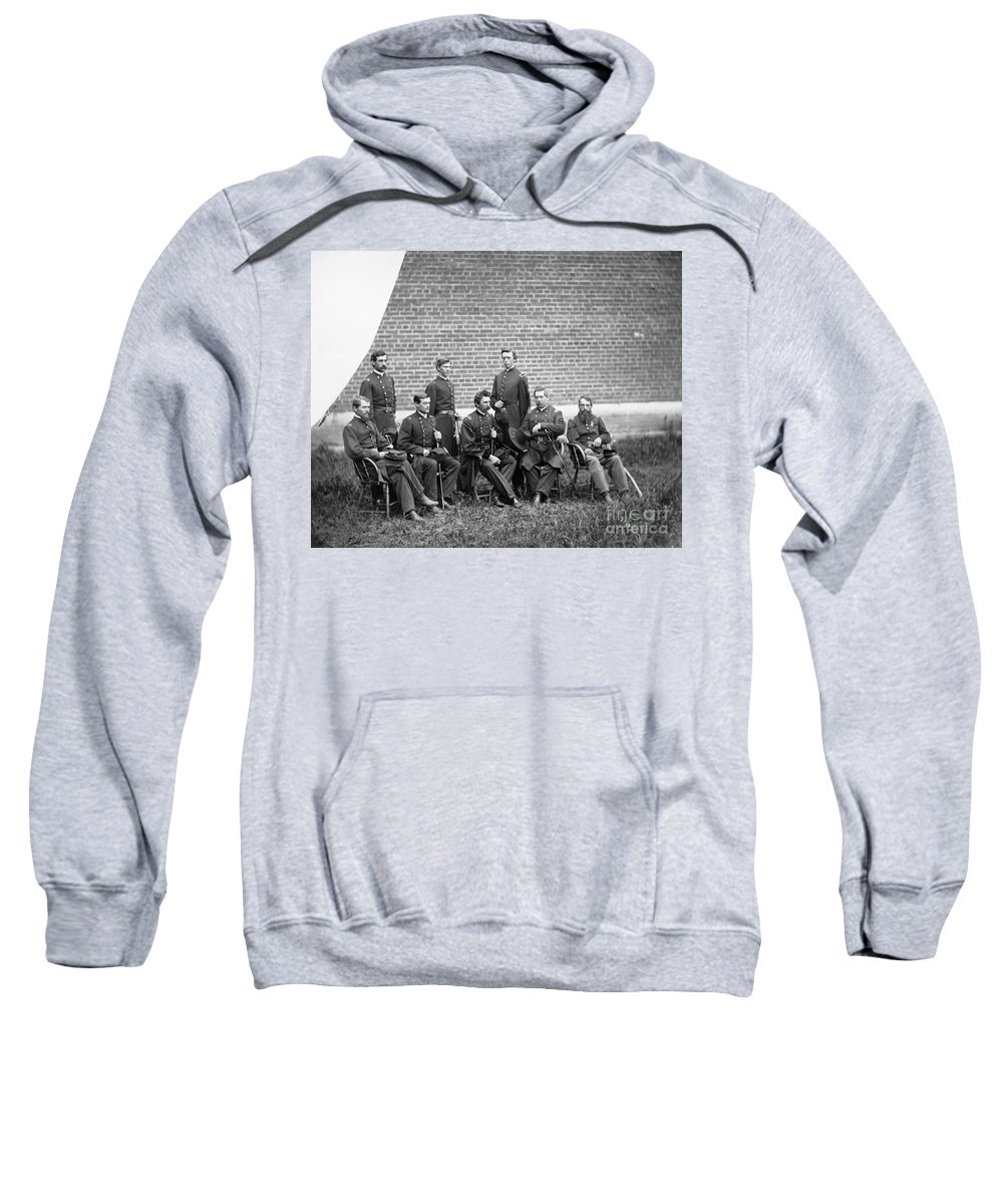 1863 Sweatshirt featuring the photograph Civil War Officers by Granger