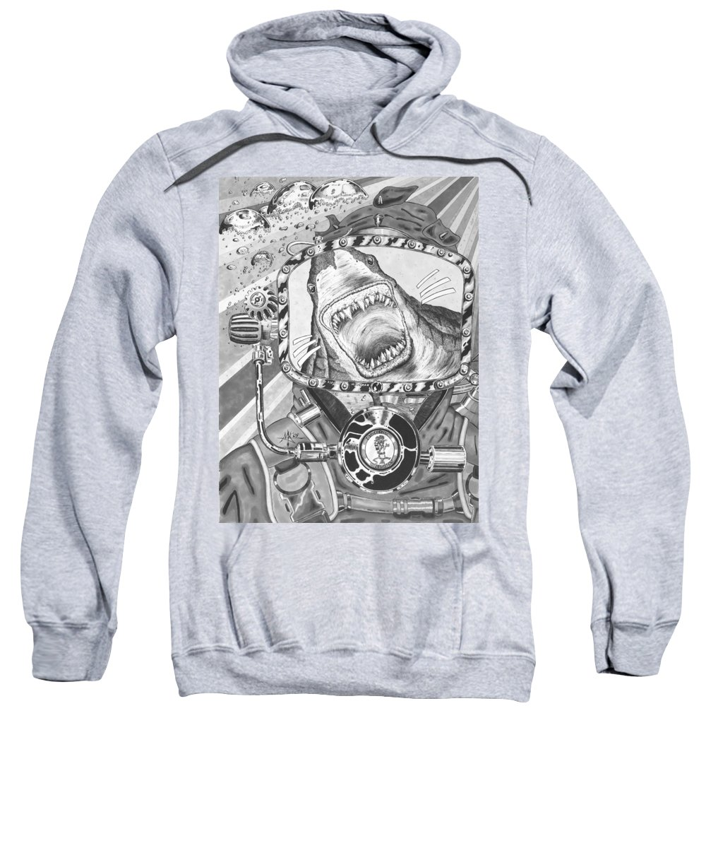 Diving Sweatshirt featuring the drawing Clash With Reality by Robert Fenwick May Jr