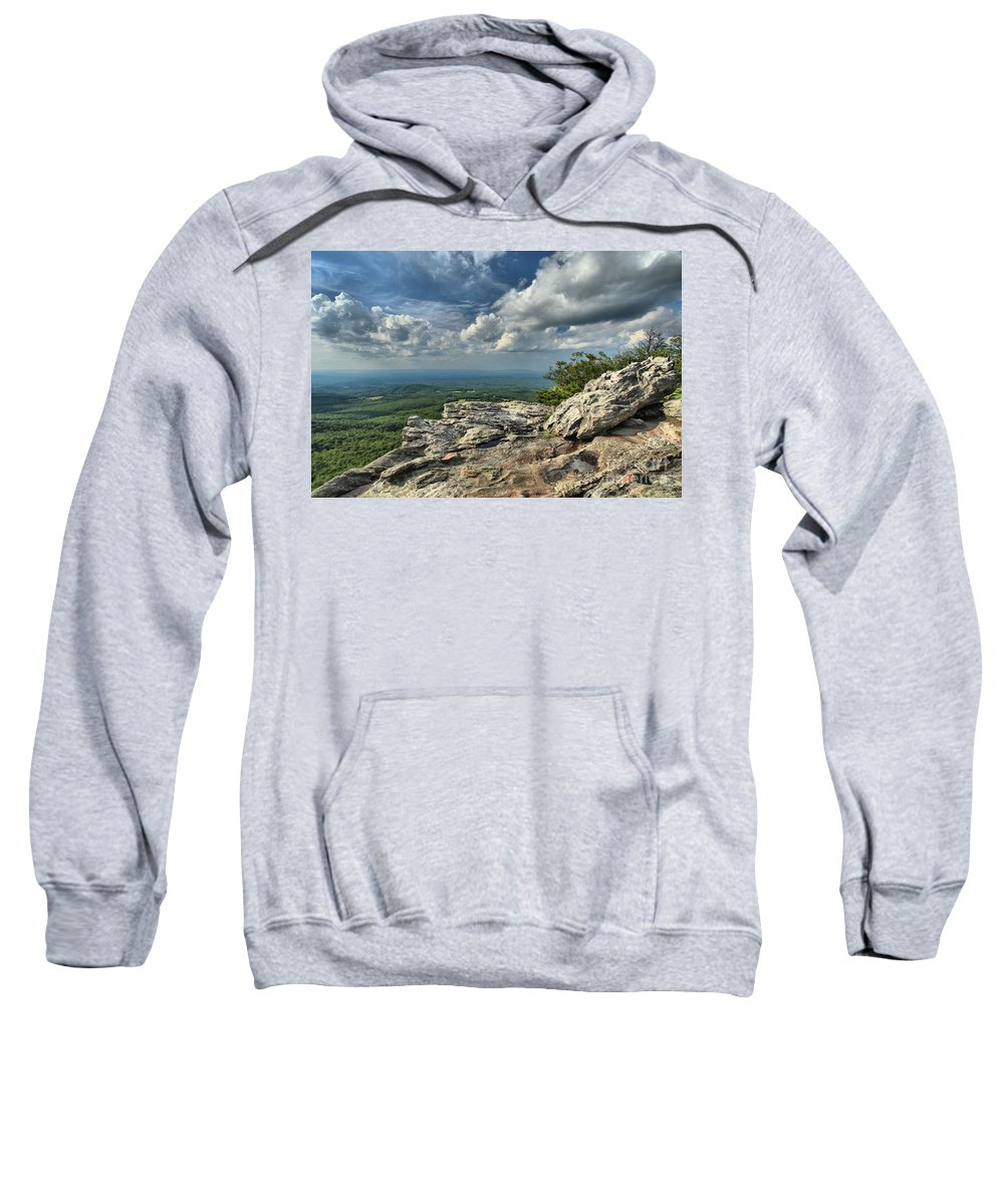 Hanging Rock State Park Sweatshirt featuring the photograph Clouds Over The Cliff by Adam Jewell