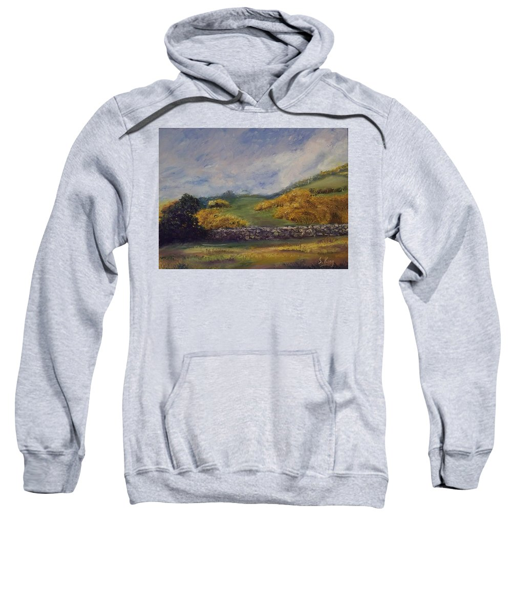 Landscape Sweatshirt featuring the painting Clover Fields by Stephen King