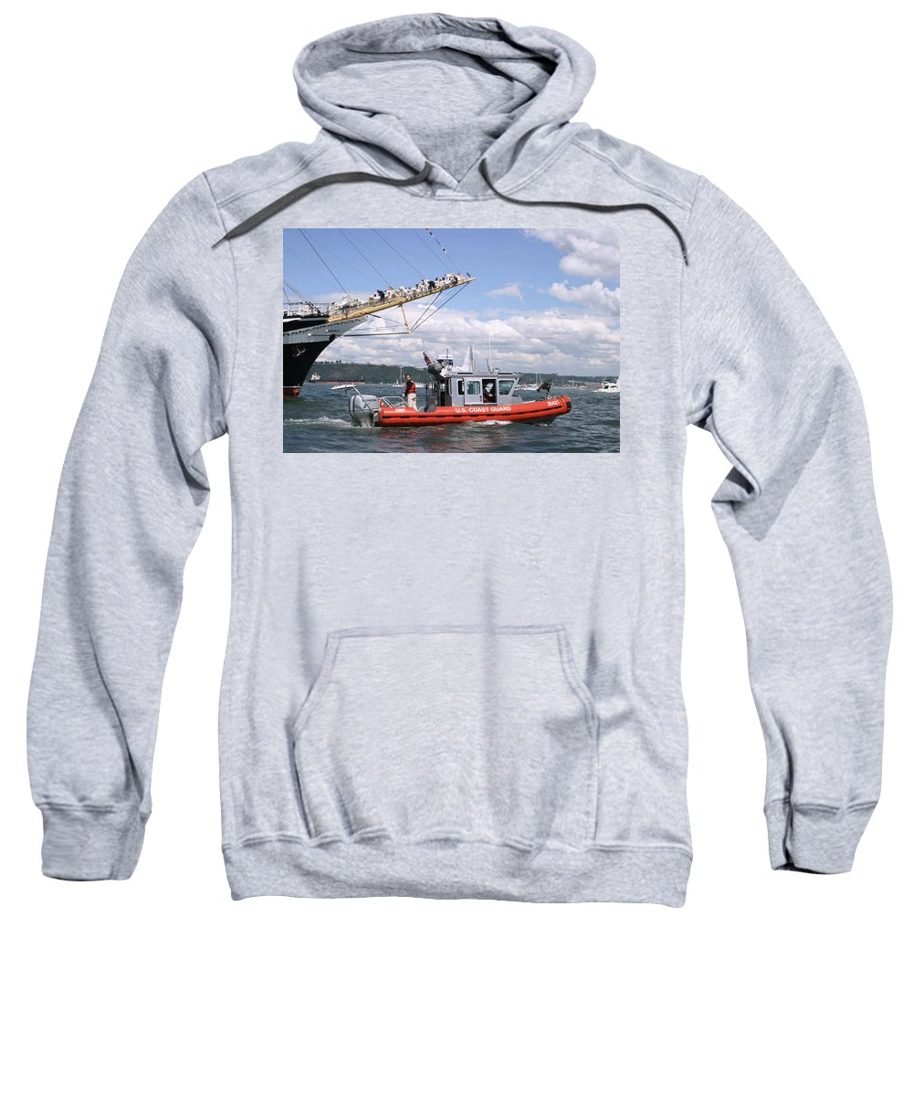Coast Guard Sweatshirt featuring the photograph Coast Guard With Tall Ships by Kym Backland