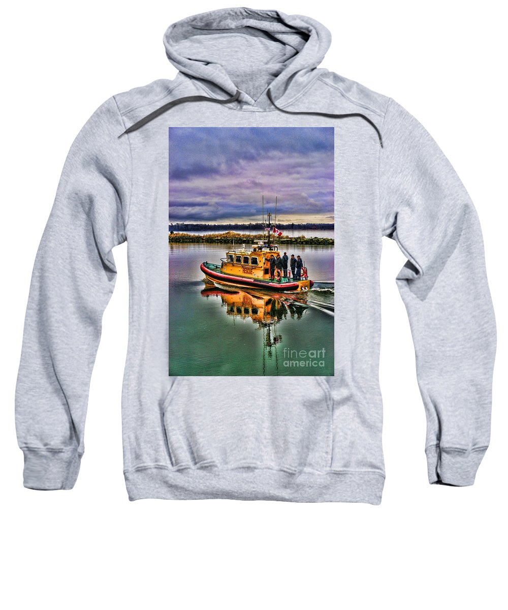 Boats Sweatshirt featuring the photograph Coastguard Hdr by Randy Harris