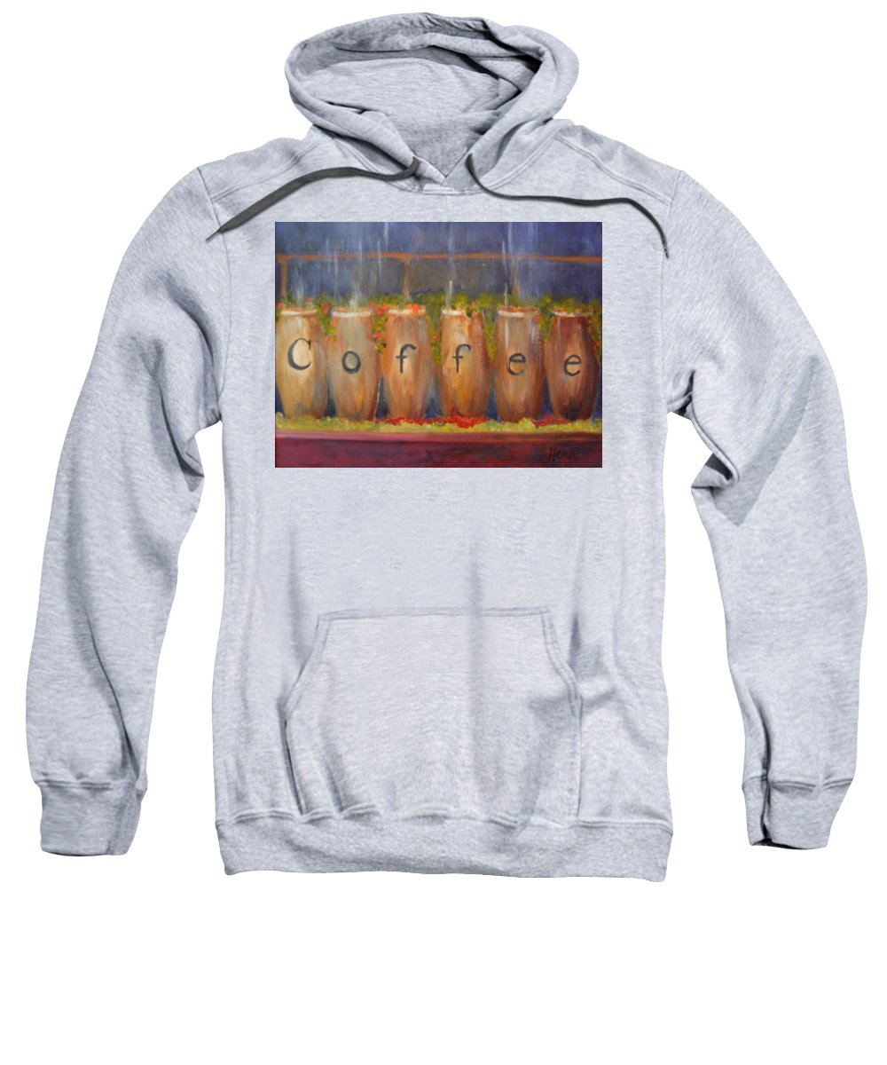 Coffee Sweatshirt featuring the painting Coffee In The Window by Marcia Hero