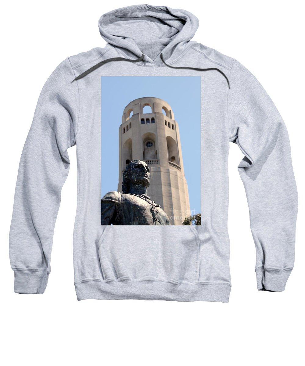 Monument Sweatshirt featuring the photograph Coit Tower Statue Columbus by Henrik Lehnerer